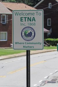 Etna Borough Welcome Sign